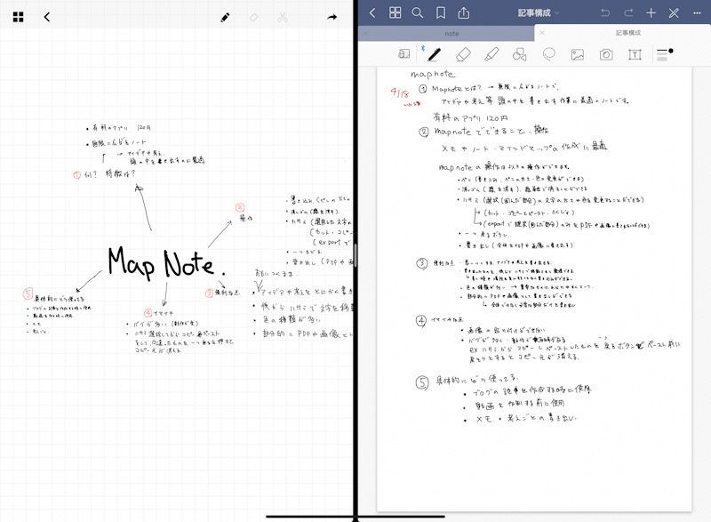 『GoodNotes5』と『mapnote』をSplit View