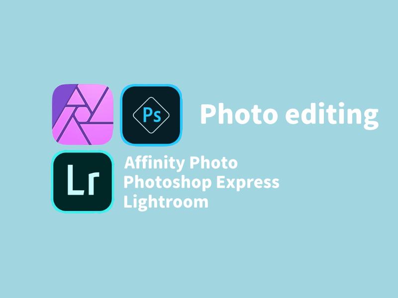 Photoshop Express、Lightroom、Affinity Photoのイメージ