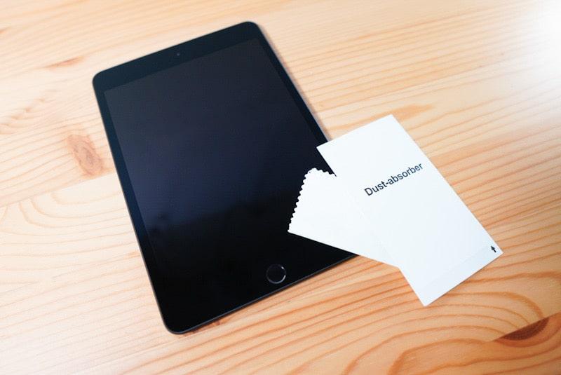iPad mini用のNimasoのガラスフィルムのホコリ取りシール