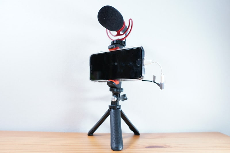 RODE VideoMicroとiPhoneの撮影用セット
